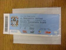 09/12/2009 BIGLIETTO: COVENTRY CITY V Newcastle United (SKY Creations Lounge). UNL