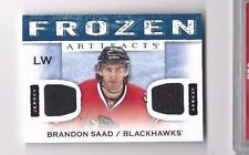 2014-15 UD Artifacts jersey hockey card Brandon Saad, Chicago Blackhawks
