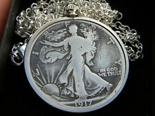 1917 Authentic circulated silver walking liberty half  dollar coin necklace