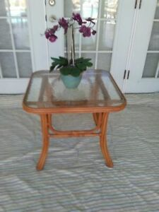 Faux Bamboo Tropical Style Metal With Glass Top End Table
