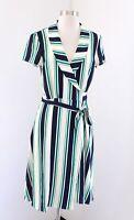Modcloth Short Sleeve Striped Shawl Collar Wrap Dress Size M Blue Green Retro