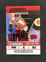 2019-20 UPPER DECK CREDENTIALS CONNOR BUNNAMAN ROOKIE DEBUT TICKET RED #ed 18/99