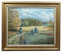 "Dave Hill ""Autumn Walk"" Impressionist Countryside Landscape Oil on Canvas Framed"