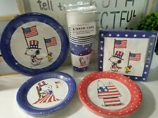 PEANUTS SNOOPY AMERICAN PATRIOTIC 4TH OF JULY PAPER PLATES CUPS & NAPKINS