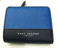 Marc Jacobs Compact Bifold Billfold Wallet in Saffiano Leather Indigo Multi $120