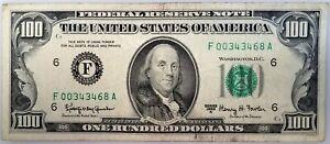 Series 1963 A $100 Federal Reserve Note, FRB Atlanta! No pinholes!