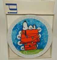 Vintage Schmid Peanuts Snoopy & Lights on Doghouse 1977 Christmas Plate w/ Box