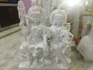 """18"""" White Marble Gauri Shankar Ganesha Murti Shiv Parivar Handmade Statue E1434"""