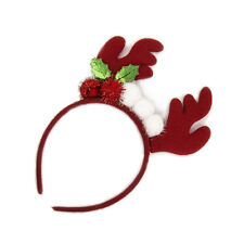 Lux Accessories Red Deer Antlers Horn Cherry Holiday Christmas Fashion Headband