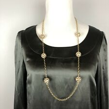 "J. Crew Jewelry Pave Crystal Ball Necklace Chain Gold 16"" Drop EUC"
