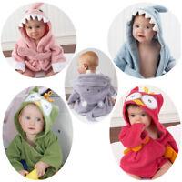 Toddler Kid Baby Boy Girl Animal Bathrobe Hooded Bath Towel Wrap Bathing Robe