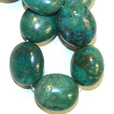 T1520fd Green Turquoise 22mm Polished Puffed Flat Oval Gemstone Beads 8""