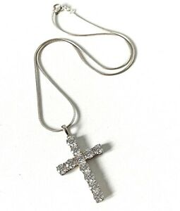 Solid Sterling Silver Sparkling Glitz Glamour Cross Pendant & Chain Necklace