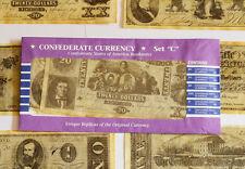 American Civil War Confederate Replica Currency Money Parchment Banknotes Set C