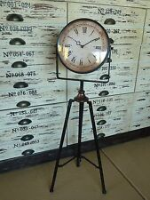 93cm Tall Rustic Aged Industrial Vintage Style Clock on Metal Tripod RRP $190