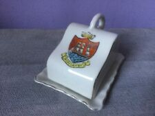 Vintage GEMMA CRESTED WARE Miniature Covered CHEESE DISH Morecambe Crest