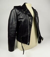 SCHOTT BROS PERFECTO BLACK MOTORCYCLE LEATHER COAT JACKET SIZE 38 MADE IN USA