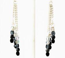 Black Crystal Gray Clear Silver Ombre' Earrings Czech Glass Long Chain Dangle