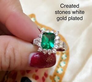 2ct emerald cut emerald cluster ring uk size L ;us 6