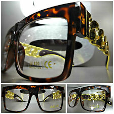 CLASSIC RETRO VINTAGE Clear Lens EYE GLASSES Tortoise & Gold Chain Link Frame