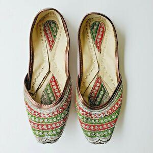 Khussa Shoes Indian Wedding Punjabi Bridal Flats Jutti Mojari Jooti Flip Flop
