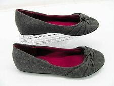 CANDIES Womens Gray Fabric Knotted Round Toe Ballet Flats Shoes 10M #X5