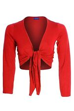 Women's Tie Up Long Sleeve Colour Shrug Bolero Ladies Wrap Top Cardigan 8-14