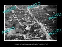 OLD LARGE HISTORIC PHOTO OF EGHAM SURREY ENGLAND, AERIAL VIEW OF HIGH ST c1930 1