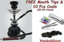 "Small 10"" Black Hookah Pumpkin Shisha Smoke Huka Pipe 10 Pcs Coal & Tips 1 Hose"