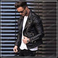 Men's Genuine Lambskin Leather Jacket Black Slim fit Biker Motorcycle jacket QM1