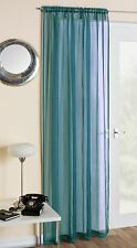 Slot Top Plain Voile Net Curtain Panel Rod Pole or Wire All Colours & Sizes Teal Blue 183 X 145cm / 72 X 57in