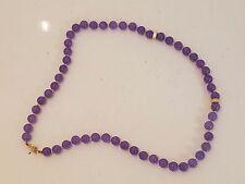 Vintage 14k solid gold purple jade or jadeite necklace
