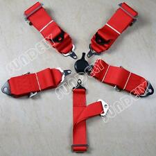 "Sports Racing Harness Seat Belt 3"" 5 Point Fixing Red Quick Release 1pcs"