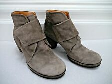 CHIE MIHARA taupe gray suede cone heel ankle boots booties size 38.5