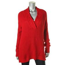 Lauren Ralph Lauren Womens Red Shawl Collar 100% Cotton Pullover Sweater L NWT