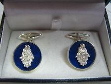 gemelli lapis lazuli con ss.miracolosa in argento 925 lavorazione artigianale