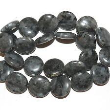 "NG2341f Norwegian Labradorite 18mm Flat Round Coin Larvikite Gemstone Beads 15"""