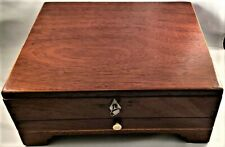 Antique Doctor'S Inlaid Wood Instrument Box with Locking Top & Drawer Nr
