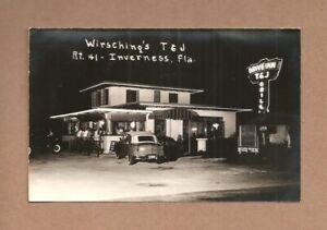 REAL-PHOTO POSTCARD:  WIRSCHING'S T & J DRIVE INN GRILL - INVERNESS, FLORIDA