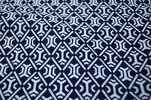 Japanese Cotton Fabric Blue with White Repetitive Diamond Design 1296