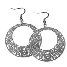 "Stunning Brand New Lightweight  2"" Stainless Steel Dangle Lace Earrings (Marni)"