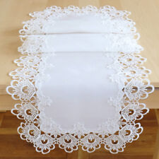 Tischläufer 40 x 140 cm Tischdecke Tisch Deko weiß Landhaus Häkelspitze