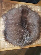 """Real Fur Muff Vintage,  black lining, zip picket inside 11"""" x 11"""" app."""