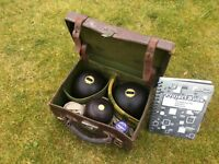 Antique/ Vintage Green Bowls with leather box