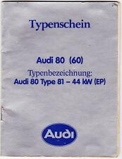 Typenschein   Audi  80  (60)   Bj  1982