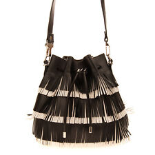 RRP €1280 PROENZA SCHOULER Leather Bucket Bag HANDCRAFTED Fringe Trim Drawstring