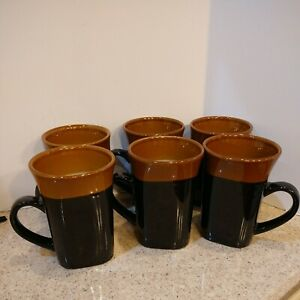 Lot 6 NEW Royal Norfolk 14oz Tall Coffee Latte Mugs Black & Brown Country
