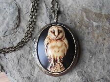 BARN OWL CAMEO LOCKET (hand painted brown) - VINTAGE LOOK, VICTORIAN, STEAMPUNK