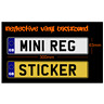 Stick On Mini Number Plate GB Boarder 300mm - numberplate sticker reflective