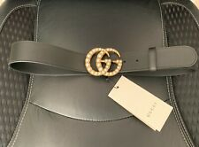 Woman's Gucci Belt - Black Leather - Pearl Double G Buckle - Size 85